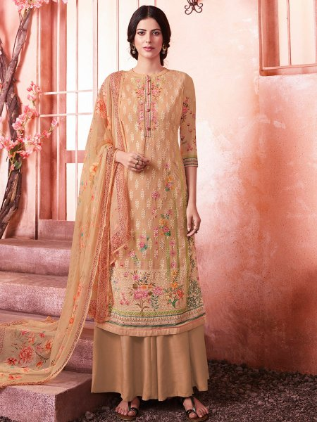 Beige Yellow Faux Georgette Embroidered Party Palazzo Pant Kameez