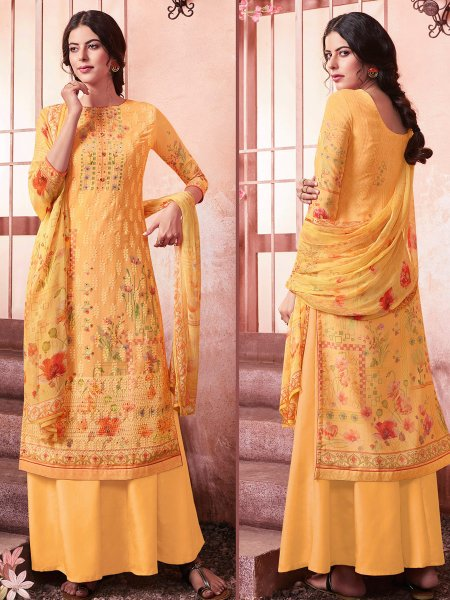 Gamboge Yellow Faux Georgette Embroidered Party Palazzo Pant Kameez