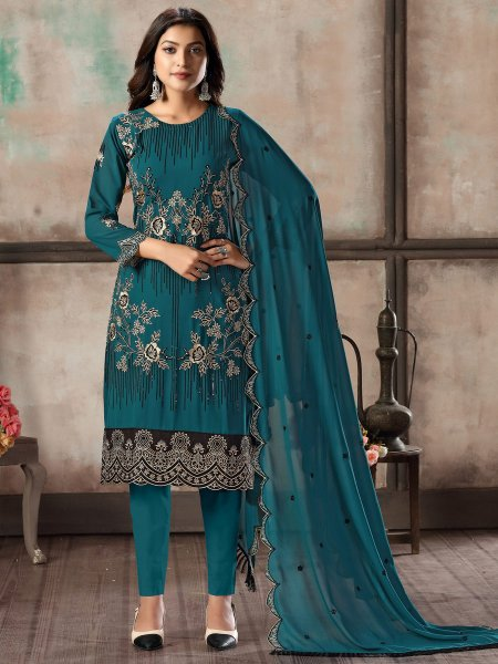 Teal Blue Faux Georgette Embroidered Party Pant Kameez