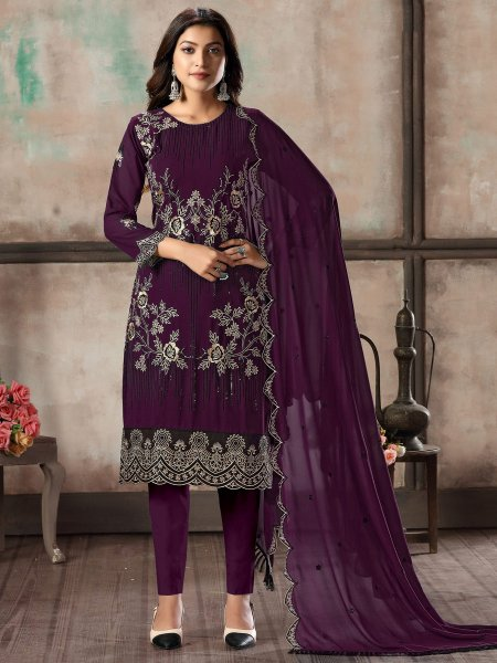 Byzantium Purple Faux Georgette Embroidered Party Pant Kameez