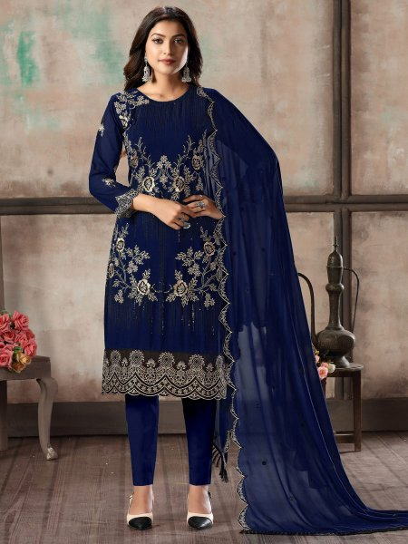 Navy Blue Faux Georgette Embroidered Party Pant Kameez
