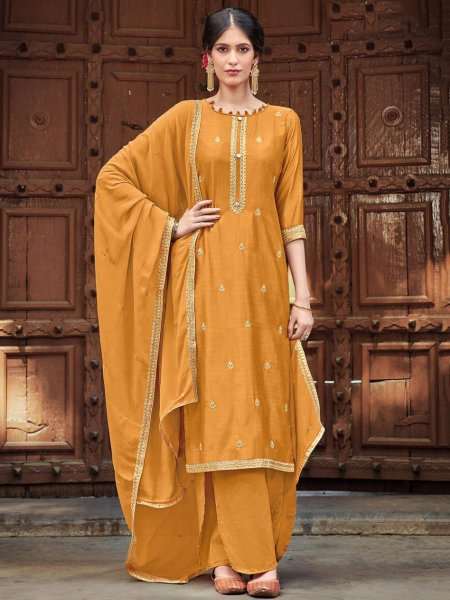 Mustard Yellow Cotton Silk Embroidered Festival Palazzo Pant Kameez