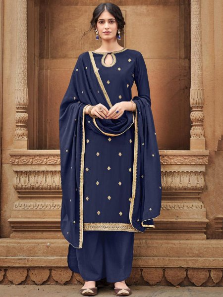 Navy Blue Cotton Silk Embroidered Festival Palazzo Pant Kameez