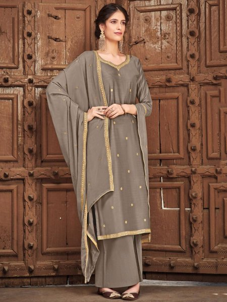 Gray Cotton Silk Embroidered Festival Palazzo Pant Kameez