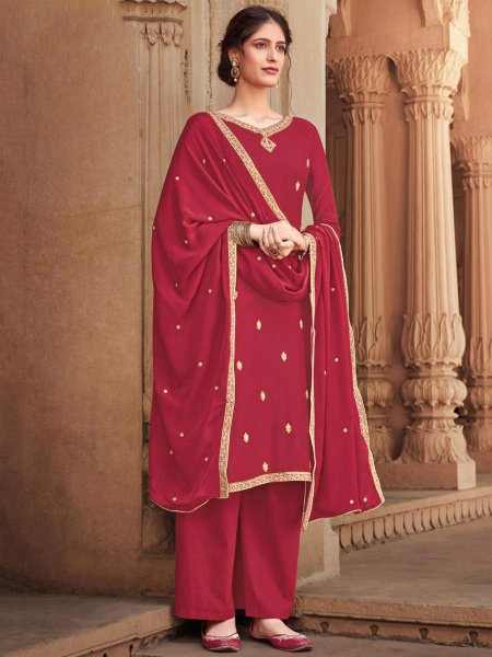 Venetian Red Cotton Silk Embroidered Festival Palazzo Pant Kameez