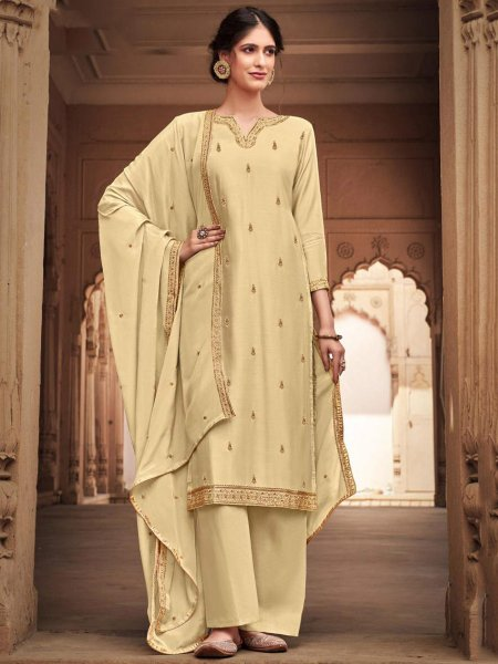 Cream Yellow Cotton Silk Embroidered Festival Palazzo Pant Kameez