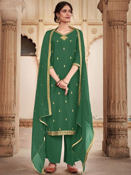Hunter Green Cotton Silk Embroidered Festival Palazzo Pant Kameez