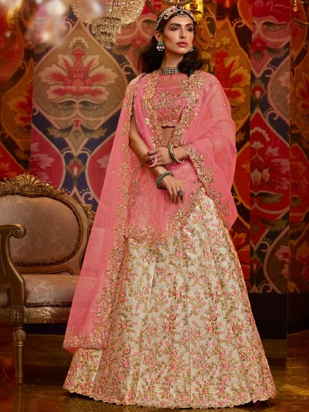Cream Yellow Silk Embroidered Wedding Lehenga Choli