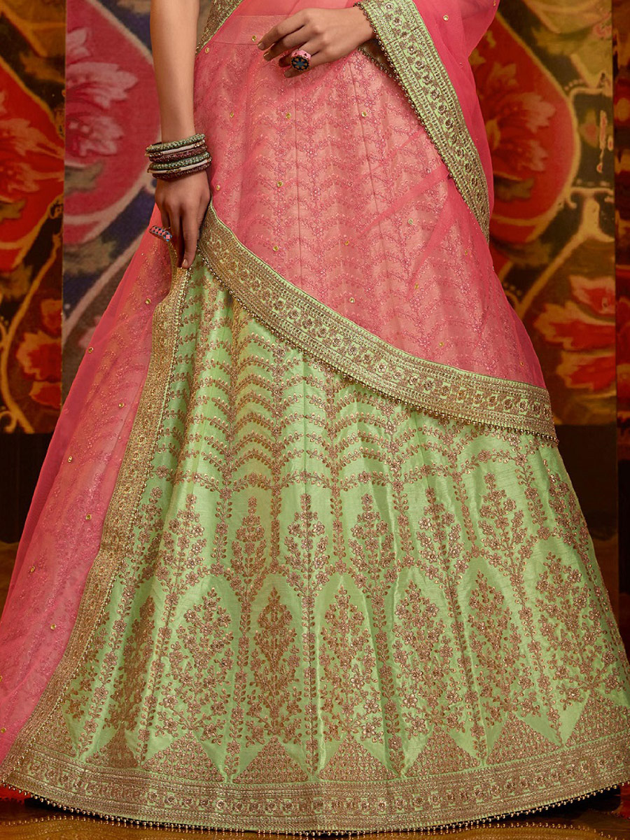 Parrot Green Silk Embroidered Wedding Lehenga Choli