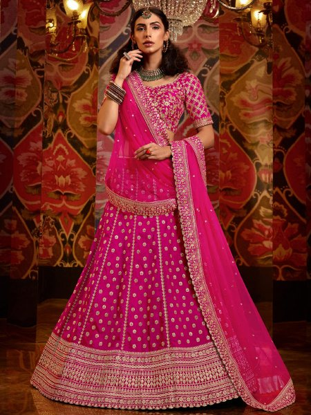 Dark Magenta Pink Silk Embroidered Wedding Lehenga Choli