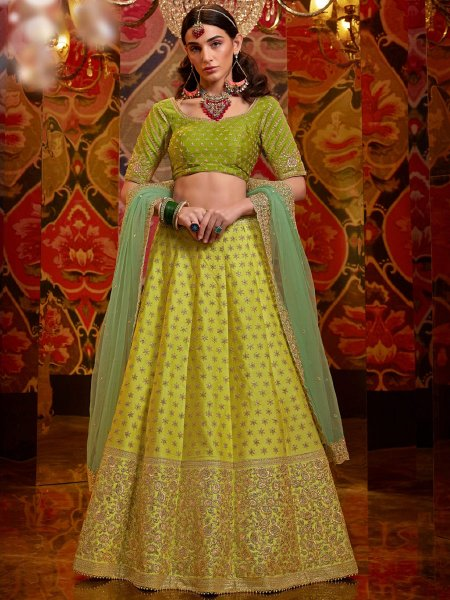 Pear Green Satin Silk Embroidered Wedding Lehenga Choli