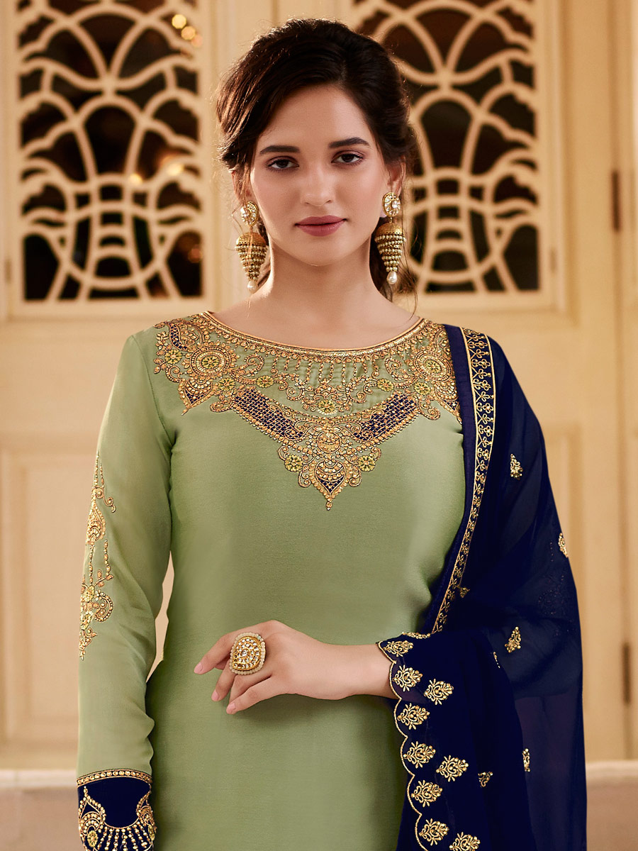Asparagus Green Satin Georgette Embroidered Festival Pant Kameez