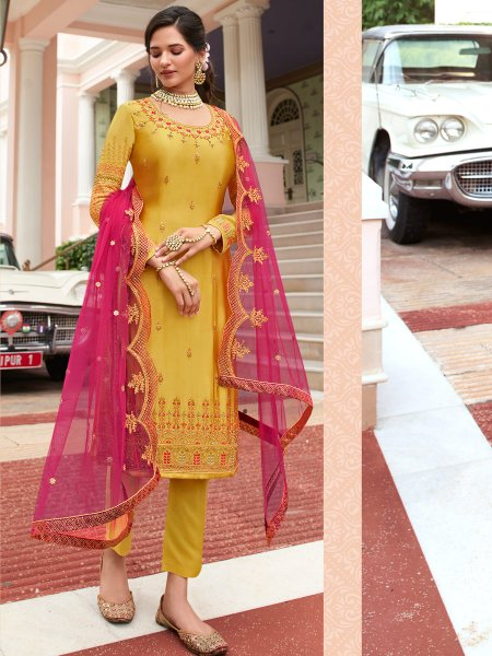 Mustard Yellow Faux Georgette Embroidered Festival Pant Kameez