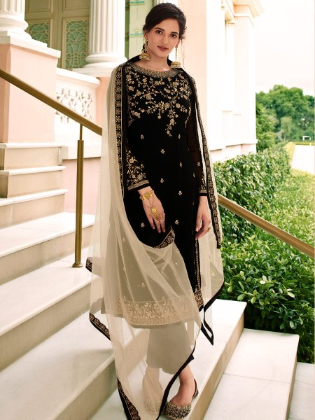 Black Faux Georgette Embroidered Festival Pant Kameez