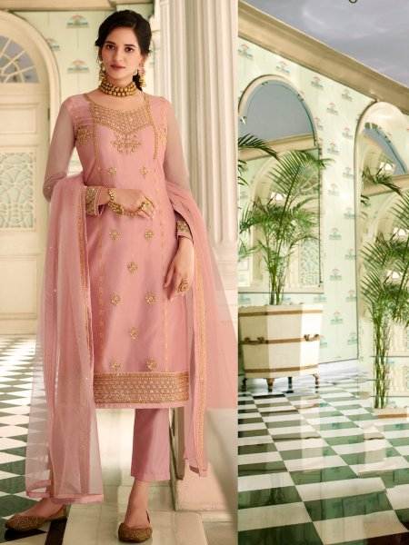 Light Pink Net Embroidered Festival Pant Kameez
