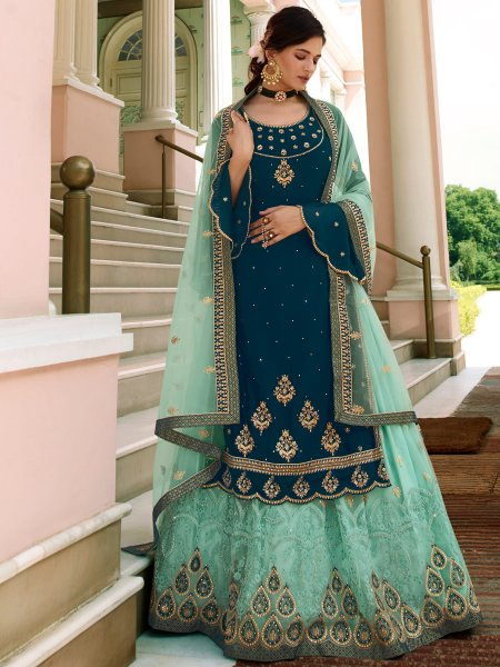 Sky Blue Net Embroidered Festival Lehenga with Suit