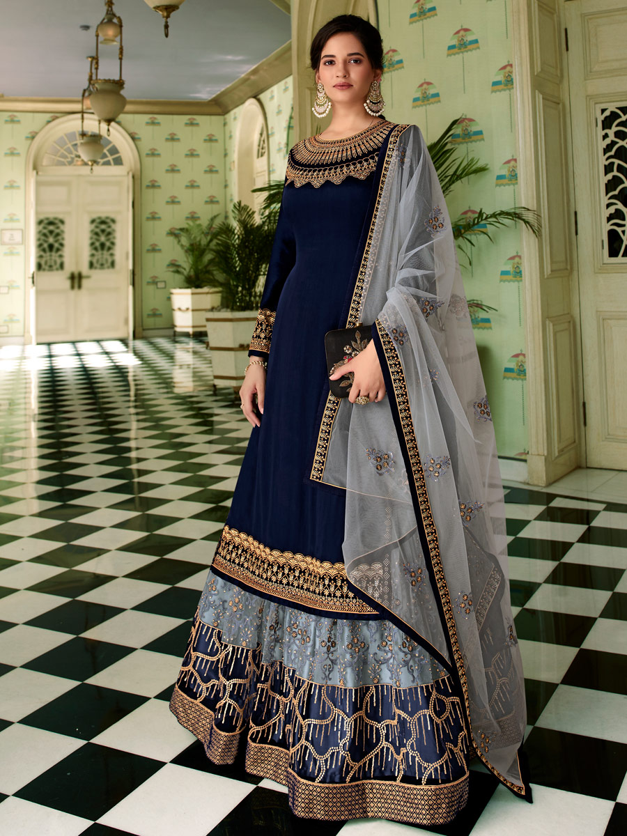 Carolina Blue Net Embroidered Festival Lehenga with Suit