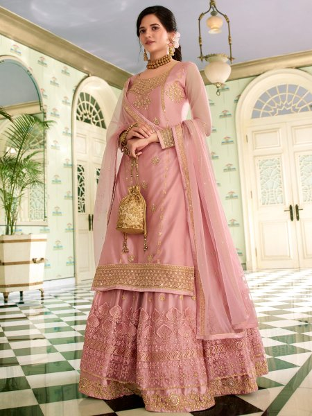 Light Pink Net Embroidered Festival Lehenga with Suit