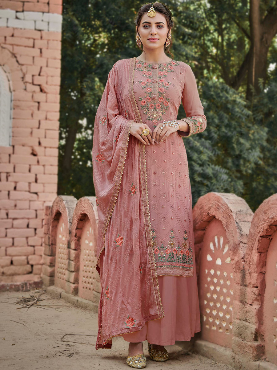 Light Thulian Pink Faux Georgette Embroidered Party Palazzo Pant Kameez