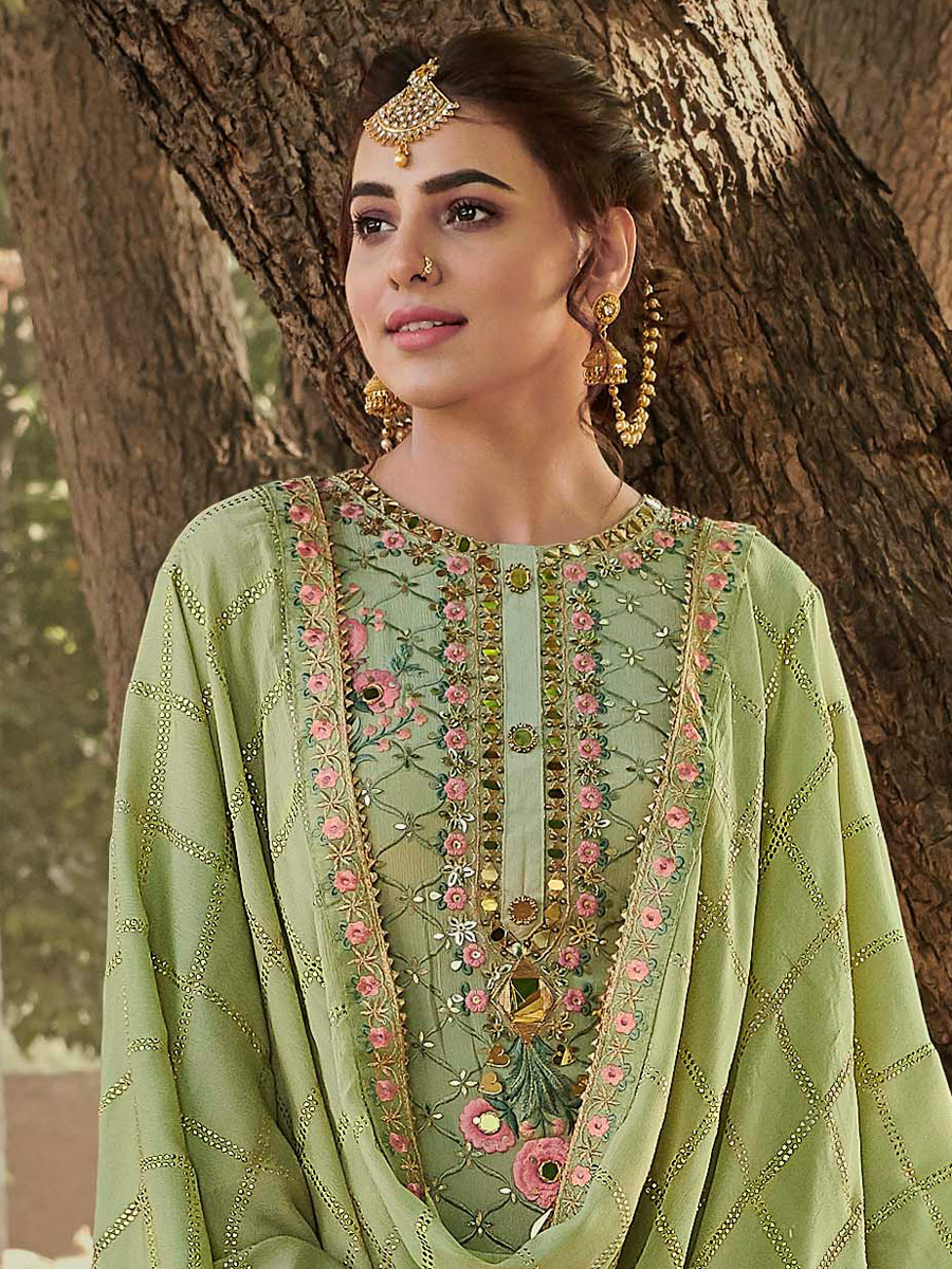 Light Asparagus Green Faux Georgette Embroidered Party Palazzo Pant Kameez