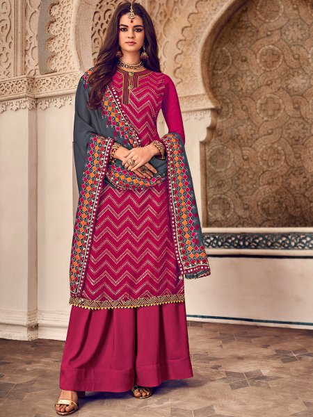 Dark Pink Faux Georgette Embroidered Party Palazzo Pant Kameez