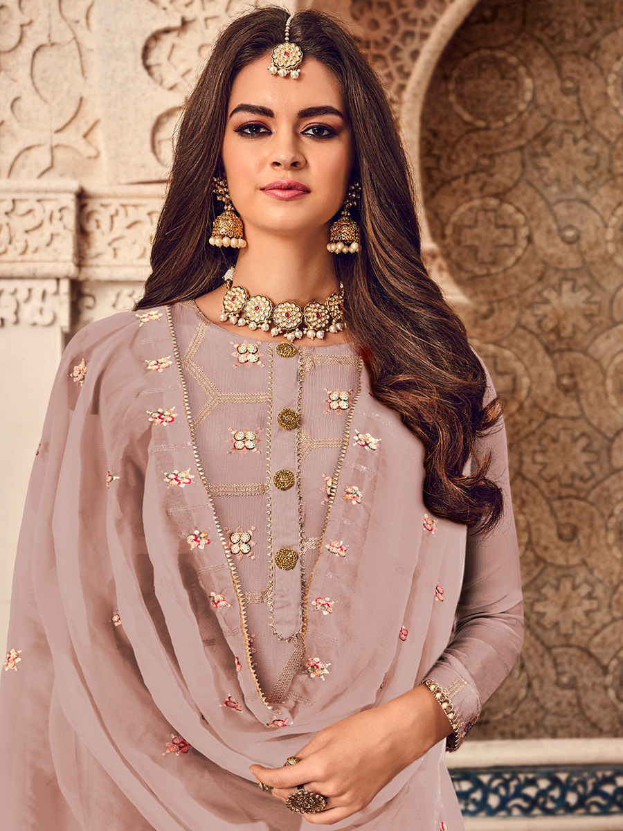 Tea Rose Pink Faux Georgette Embroidered Party Palazzo Pant Kameez