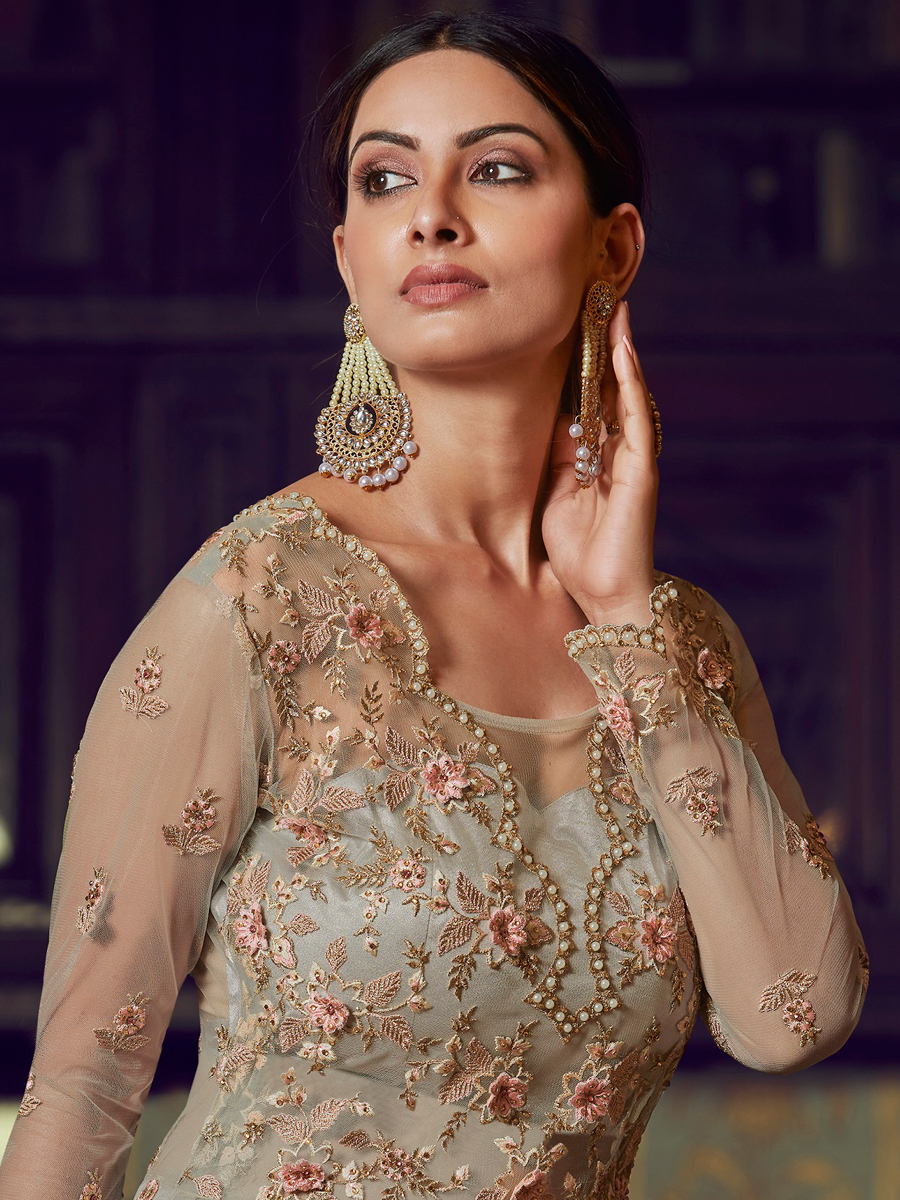 Gray Net Embroidered Party Lehenga with Suit