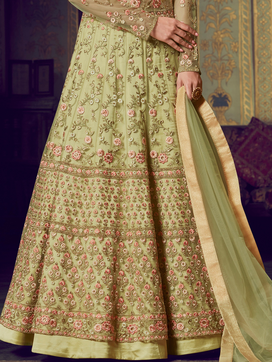 Asparagus Green Net Embroidered Party Lehenga with Suit