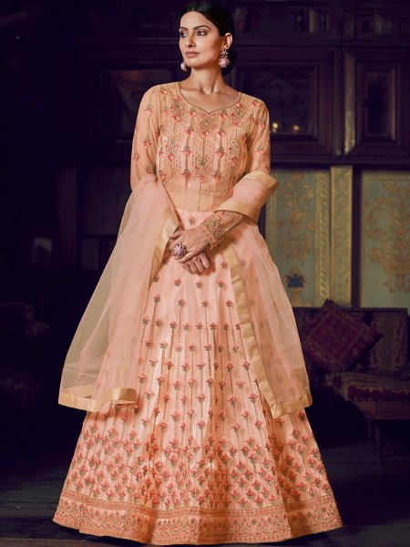 Salmon Orange Net Embroidered Party Lehenga with Suit