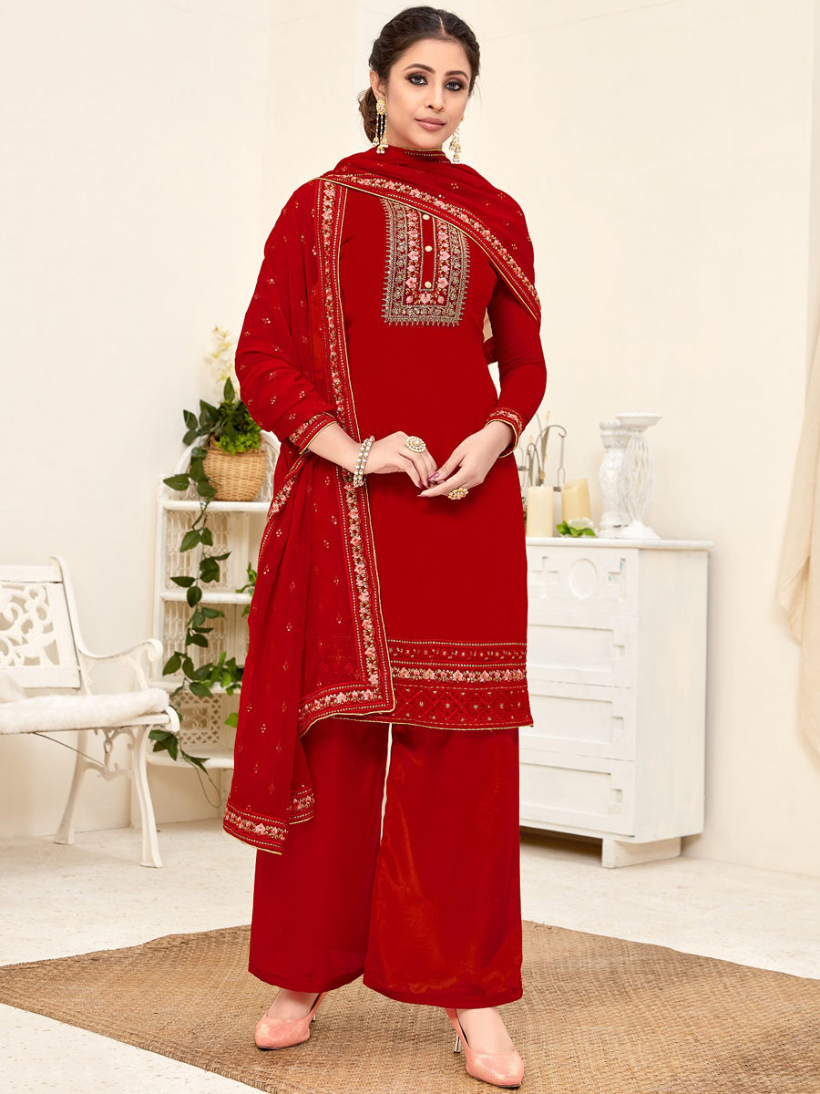 Venetian Red Faux Georgette Embroidered Party Palazzo Pant Kameez