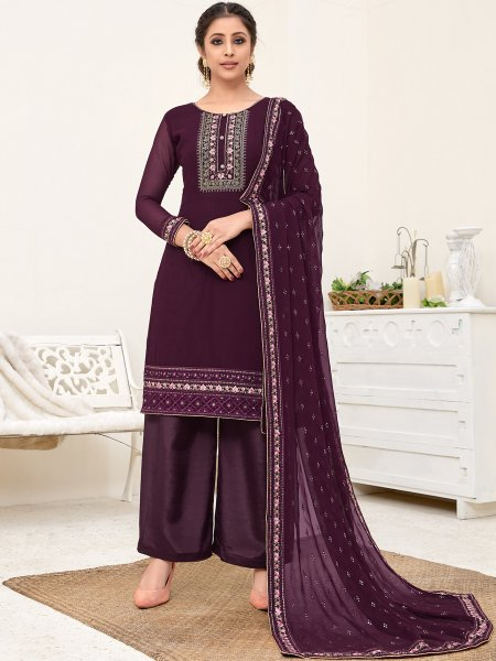 Byzantium Purple Faux Georgette Embroidered Party Palazzo Pant Kameez