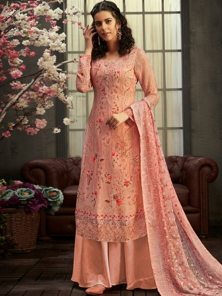 Coral Pink Faux Georgette Printed Party Palazzo Pant Kameez