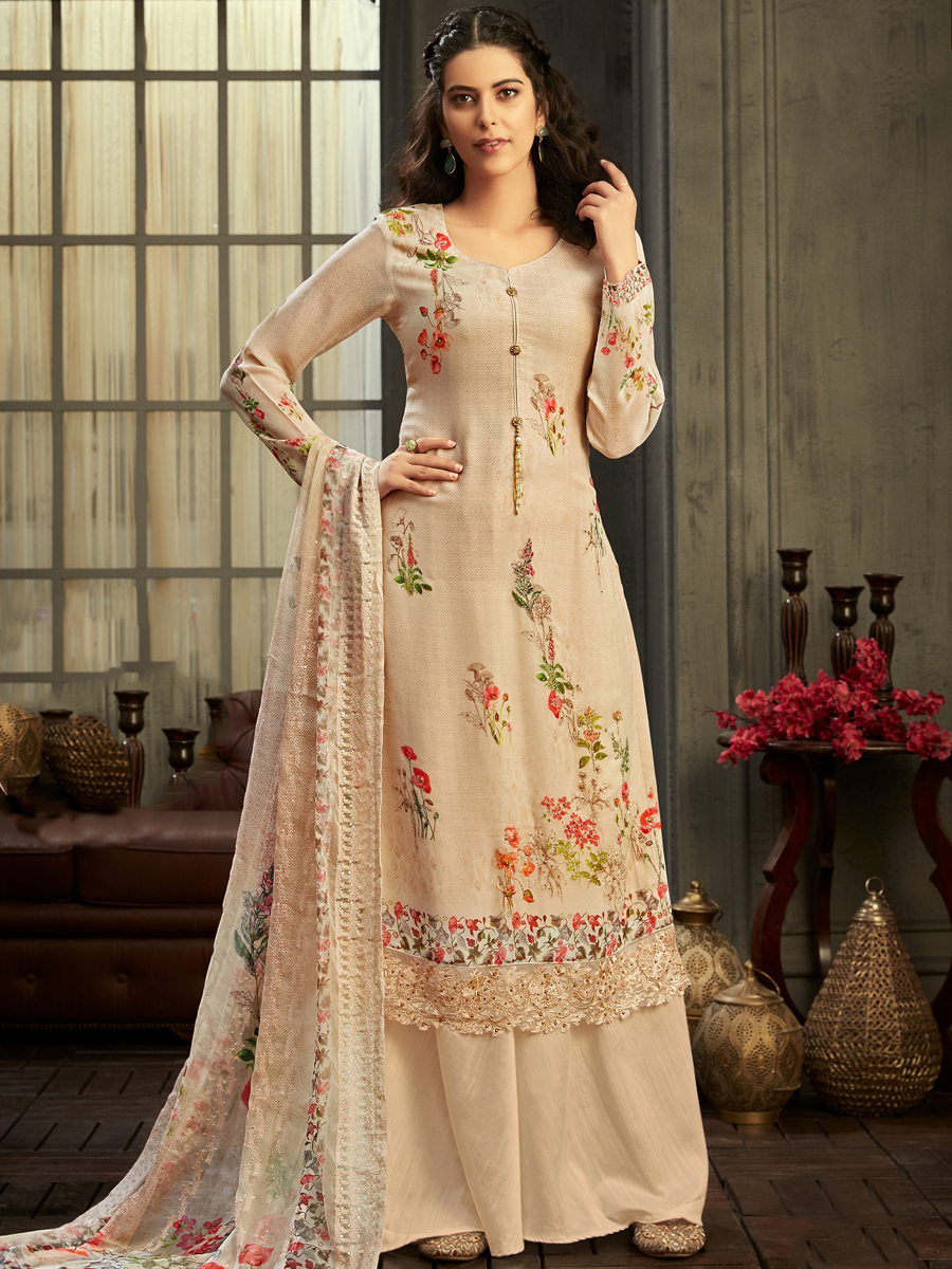 Cream Yellow Faux Georgette Printed Party Palazzo Pant Kameez