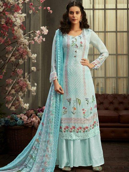 Sky Blue Faux Georgette Printed Party Palazzo Pant Kameez