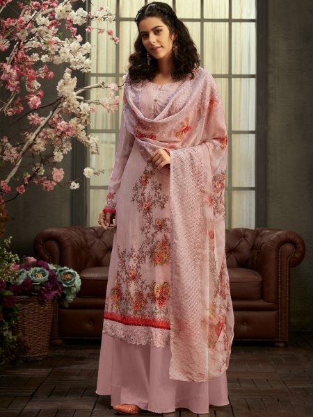 Light Pink Faux Georgette Printed Party Palazzo Pant Kameez