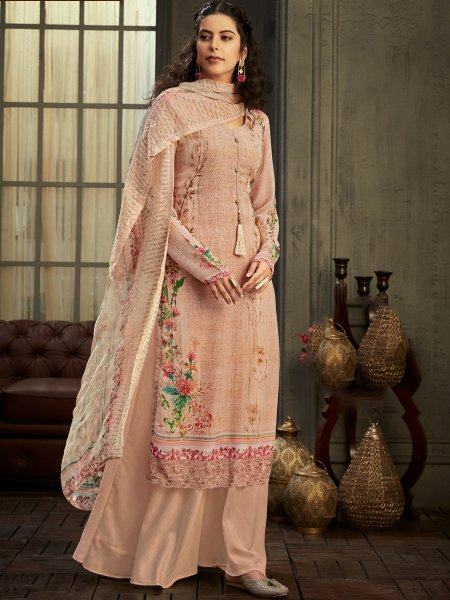 Desert Sand Brown Faux Georgette Printed Party Palazzo Pant Kameez