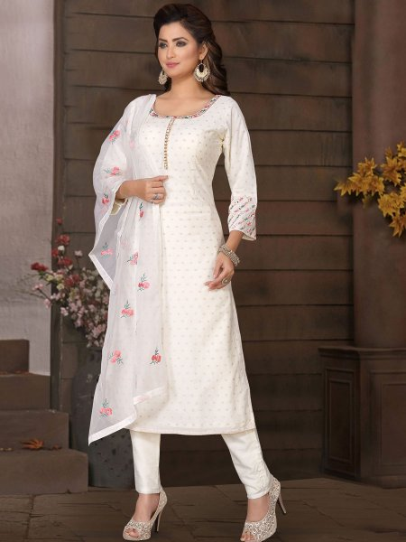 White Brocade Embroidered Party Pant Kameez
