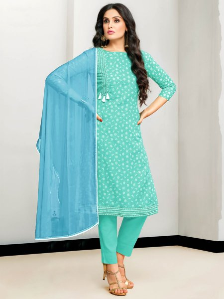 Jungle Green Cotton Printed Party Pant Kameez