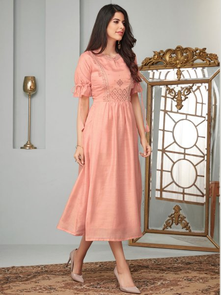 Salmon Pink Cotton Festival Embroidered Kurti
