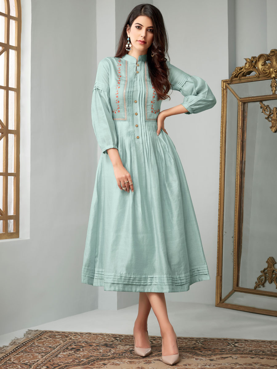 Powder Blue Cotton Festival Embroidered Kurti