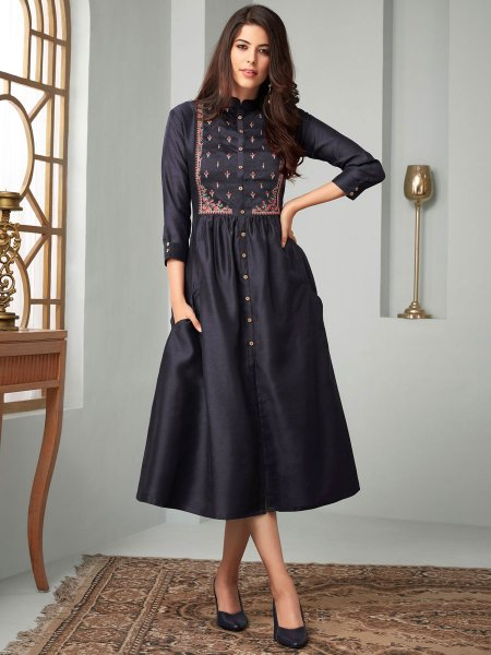 Midnight Blue Cotton Festival Embroidered Kurti