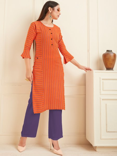 Portland Orange Cotton Printed Casual Kurti