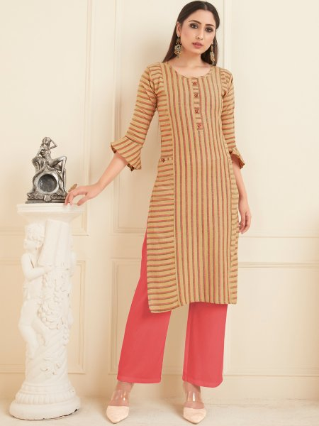 Beige Yellow Cotton Printed Casual Kurti