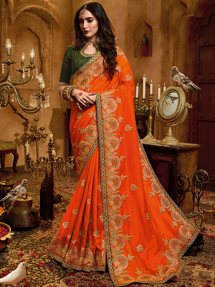 Portland Orange Satin Silk Embroidered Party Saree
