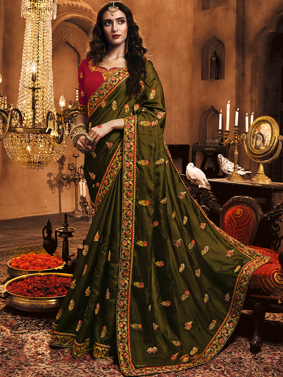 Olive Green Satin Silk Embroidered Party Saree