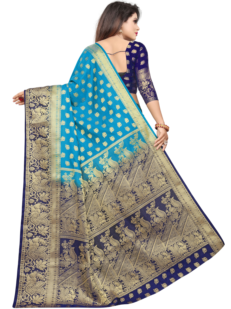 Cerulean Blue Art Silk Handwoven Festival Saree