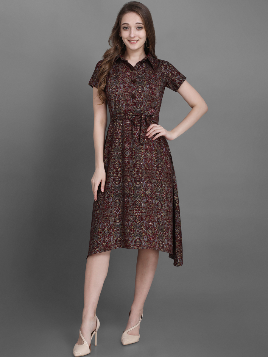 Auburn Brown Rayon Printed Casual Kurti