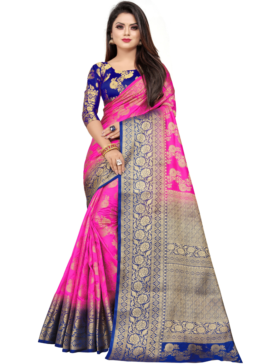 Rose Pink Art Silk Handwoven Festival Saree
