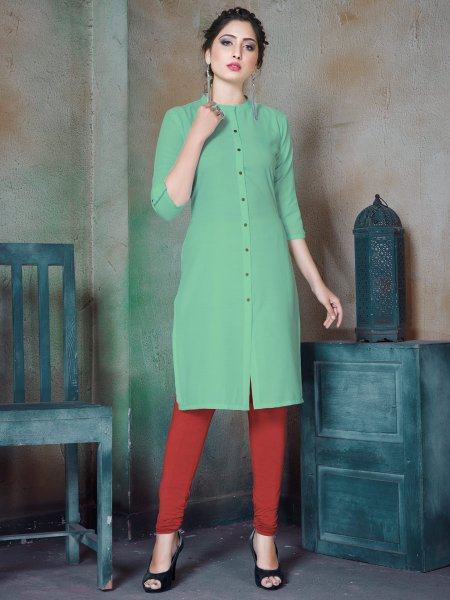 Celadon Green Cotton Plain Casual Kurti