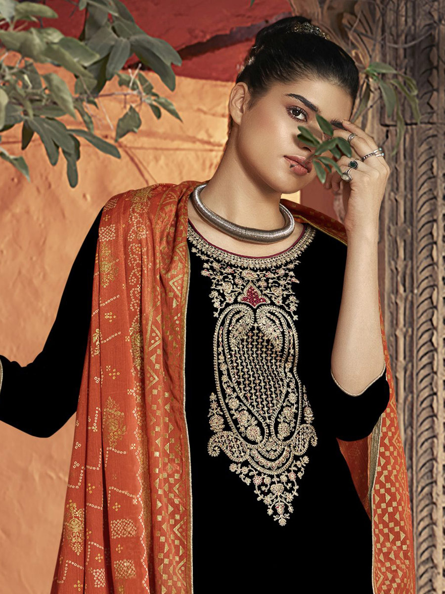 Black Velvet Embroidered Festival Palazzo Pant Kameez